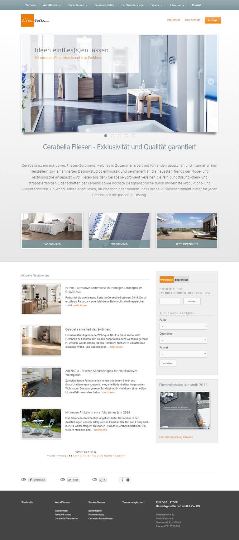 EUROBAUSTOFF Produktwebseite Cerabella WebsiteRelaunch - Cerabella fliesen