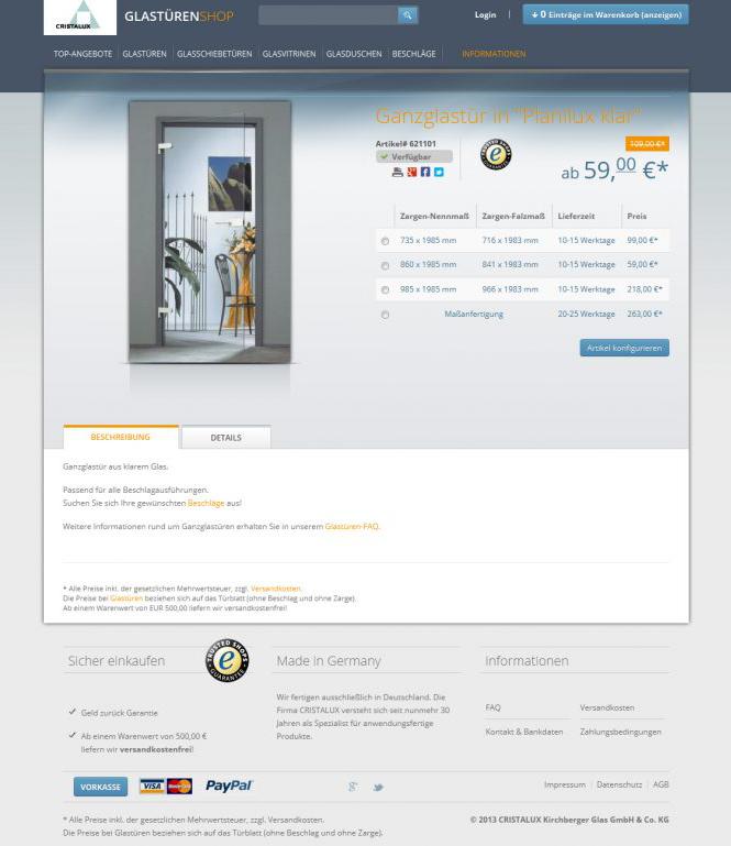 cristalux relaunch glastueren neues design des online shops. Black Bedroom Furniture Sets. Home Design Ideas